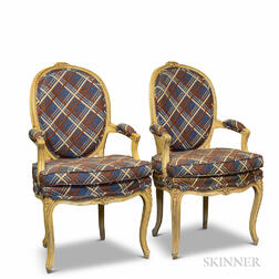 Pair of French Provincial-style Beige-painted Fauteuils