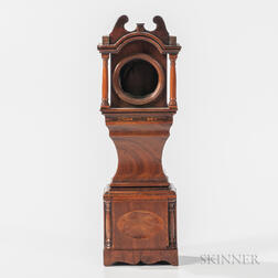 Carved and Inlaid Tall Clock-form Mahogany Watch Hutch