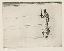 Frank Weston Benson (American, 1862-1951)      Casting for Salmon