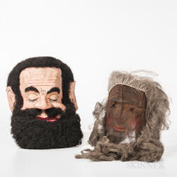 Papier-mache Odd Fellows Goliath Head and Bearded Screen Mask