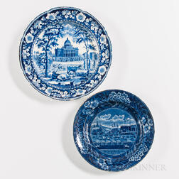 Staffordshire Historical Blue Transfer-printed Landing of Lafayette and Boston Statehouse Plates