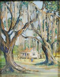 Elizabeth Quale O'Neill Verner (American, 1883-1979)      Cabin Through the Trees