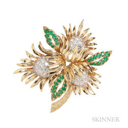 18kt Gold, Emerald, and Diamond Flower Brooch, Charles Vaillant
