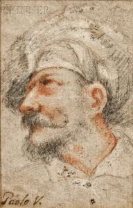 Italian School, 18th Century    Head of a Man, Perhaps After Paolo Veronese