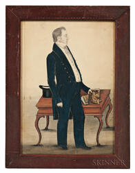 Attributed to J. Evans (New England, 19th Century)      Full-length Portrait of a Gentleman in a Dark Blue Suit