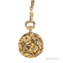 Art Nouveau Lady's 14kt Gold Open Face Pendant Watch