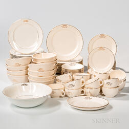 Approximately Ninety-eight-piece Odd Fellows Defiance, Ohio, Temple Dinner Service