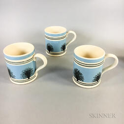 "Three T.G. Green, Ltd., Mocha ""Tree"" and Slip-decorated Mugs"