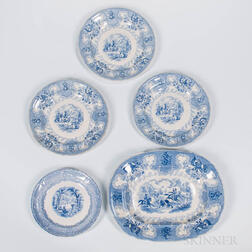 "Four Staffordshire Transfer-decorated ""Texian Campaigne"" Table Items and an Unrelated Dish"