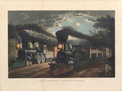 "Currier & Ives, publishers (American, 1857-1907)  THE ""LIGHTNING EXPRESS"" TRAINS. ""Leaving the Junction."""