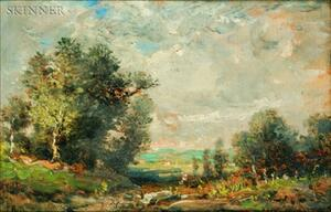 Attributed to Théodore Rousseau (French, 1812-1867)    Passing Clouds