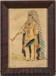 Watercolor Depicting a Plains Indian Chief