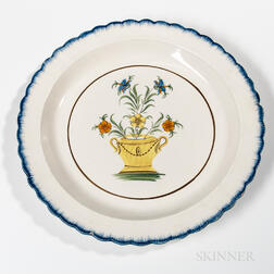 Staffordshire Pearlware Charger with Floral Vase Decoration