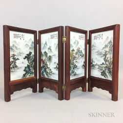 Table Screen with Four Enameled Porcelain Plaques