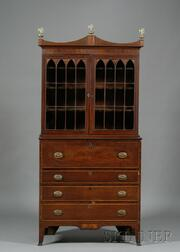 Federal Mahogany, Wavy Birch, and Bird's-eye Maple Inlaid Glazed Desk Bookcase