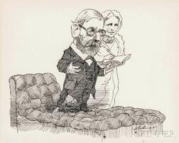 Levine, David (1926-2009) Original Pen-and-Ink Drawing of Sigmund Freud (1856-1939) and Lou Andreas-Salomé (1861-1937), 1965.