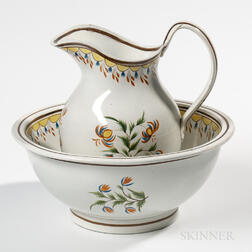 Staffordshire Pearlware Pitcher and Bowl