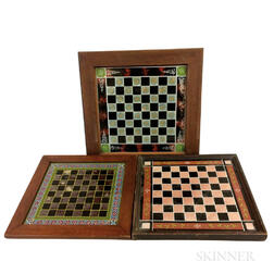 Three Reverse-painted Glass Checkerboards