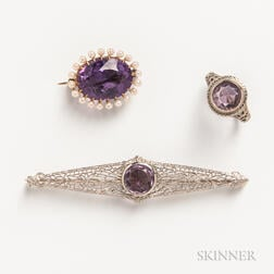 Three Pieces of 14kt Gold and Amethyst Jewelry
