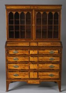 Federal Mahogany Flame Birch and Rosewood Veneer Desk Bookcase