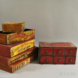 Five Advertising Boxes and a Red-painted Apothecary