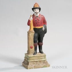 Painted Chalkware Figure of a Fireman