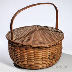 Woven Ash Splint Covered Sewing Basket