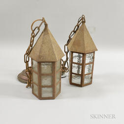 Pair of Art and Crafts Glass and Sheet Iron Hexagonal Lanterns