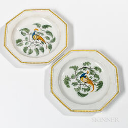 Pair of Octagonal Staffordshire Pearlware Peafowl Plates