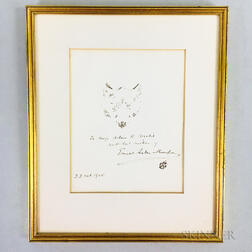Framed Ernest Thompson Seton (American, 1860-1946) Sketch of a Wolf