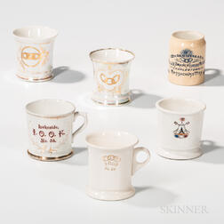Six Odd Fellows Shaving Mugs