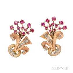 Retro 14kt Gold, Ruby, and Diamond Earclips
