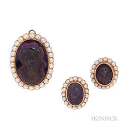 Gold and Amethyst Cameo Suite