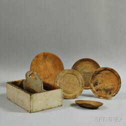 Four Treen Plates, a White-painted Cutlery Box, and a Scoop
