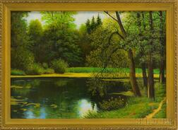 Russian School, 21st Century      Landscape with Pond