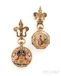 Two 14kt Gold and Enamel Lady's Brooch Watches