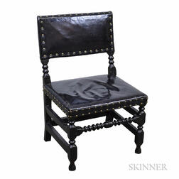 William and Mary Upholstered Black-painted Side Chair