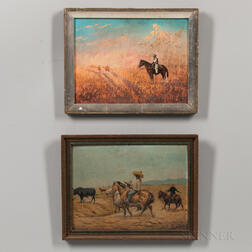 Two Southwest Oil on Board Paintings of a Cowboy and Vaquero