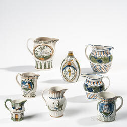 Eight Molded Prattware Table Items