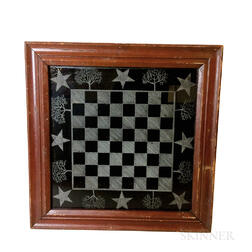 Framed Etched Glass Checkerboard