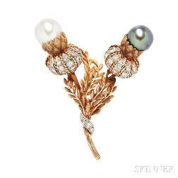 18kt Gold, Pearl, and Diamond Brooch