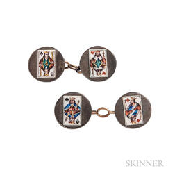Antique Enamel Playing Card Cuff Links