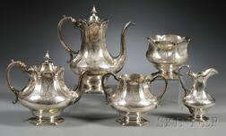 Five-piece Assembled Victorian Acid-etched Silver Tea and Coffee Service