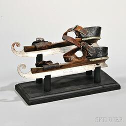 Pair of Brass-inlaid Ice Skates