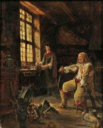 Alfred Louis Vigny Jacomin (French, 1842-1913)      In the Armorer's Shop
