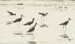 Frank Weston Benson (American, 1862-1951)      Two Impressions of Waders