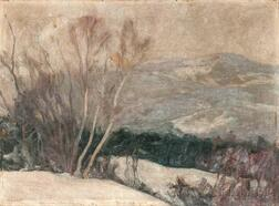 Charles Herbert Woodbury (American, 1864-1940)      Gray and Silver/A Winter Landscape