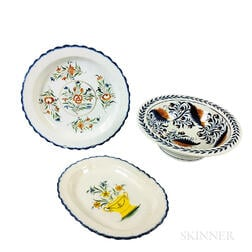 Staffordshire Polychrome Decorated Creamware Ceramic Charger, Platter, and Bowl