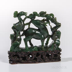 Spinach Jade Openwork Figure of Deer