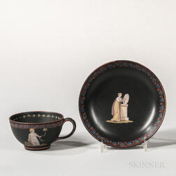 Wedgwood Black Basalt Encaustic Decorated Cup and Saucer